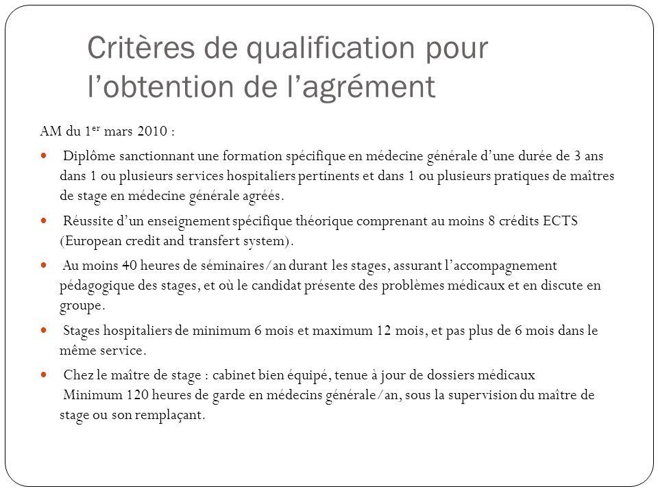 Critères de qualification pour l'obtention de l'agrément