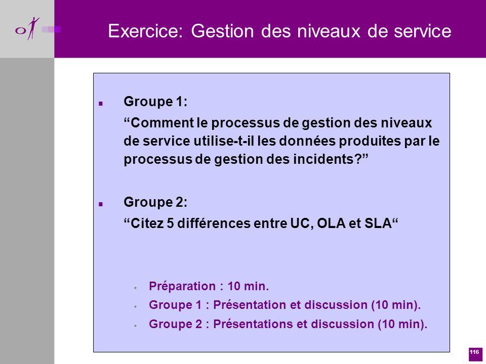Exercice: Gestion des niveaux de service