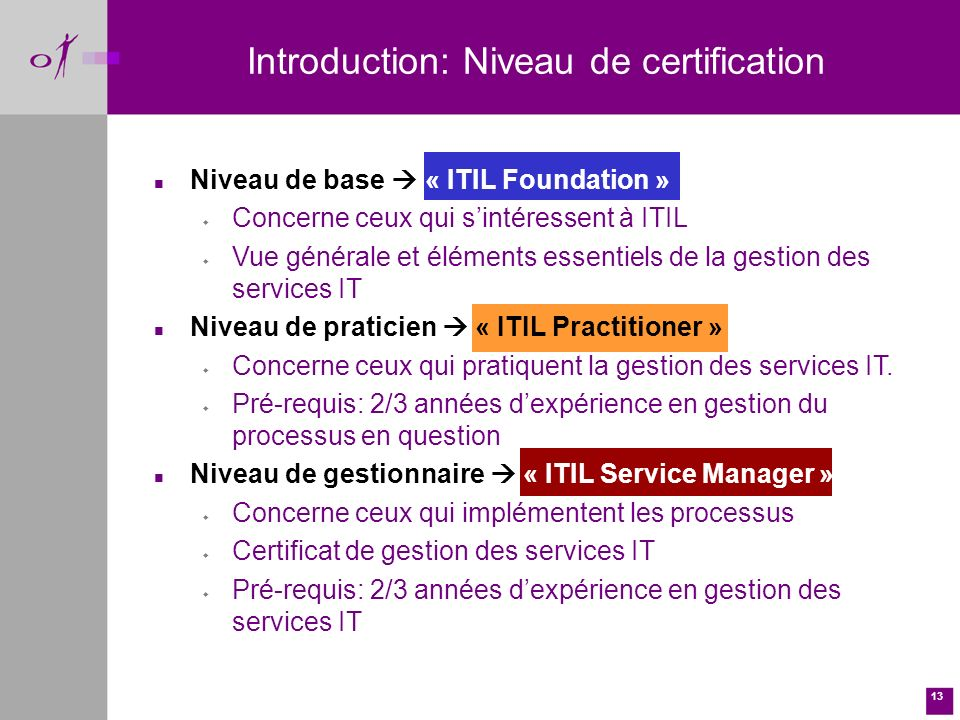 Introduction: Niveau de certification