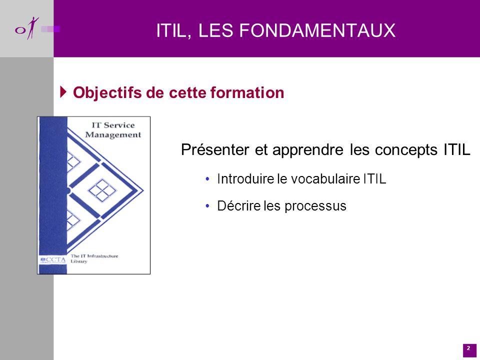 ITIL, LES FONDAMENTAUX Objectifs de cette formation