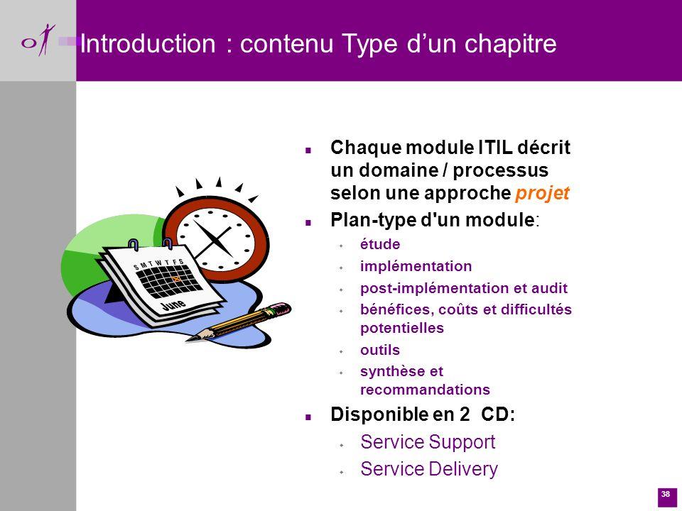 Introduction : contenu Type d'un chapitre