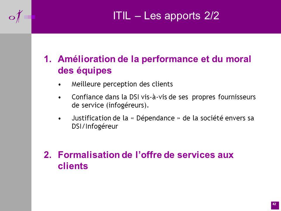 ITIL – Les apports 2/2 Amélioration de la performance et du moral des équipes. Meilleure perception des clients.