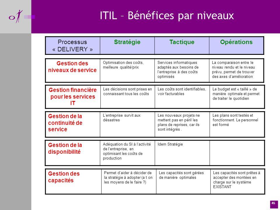 Gestion des niveaux de service Gestion financière pour les services IT