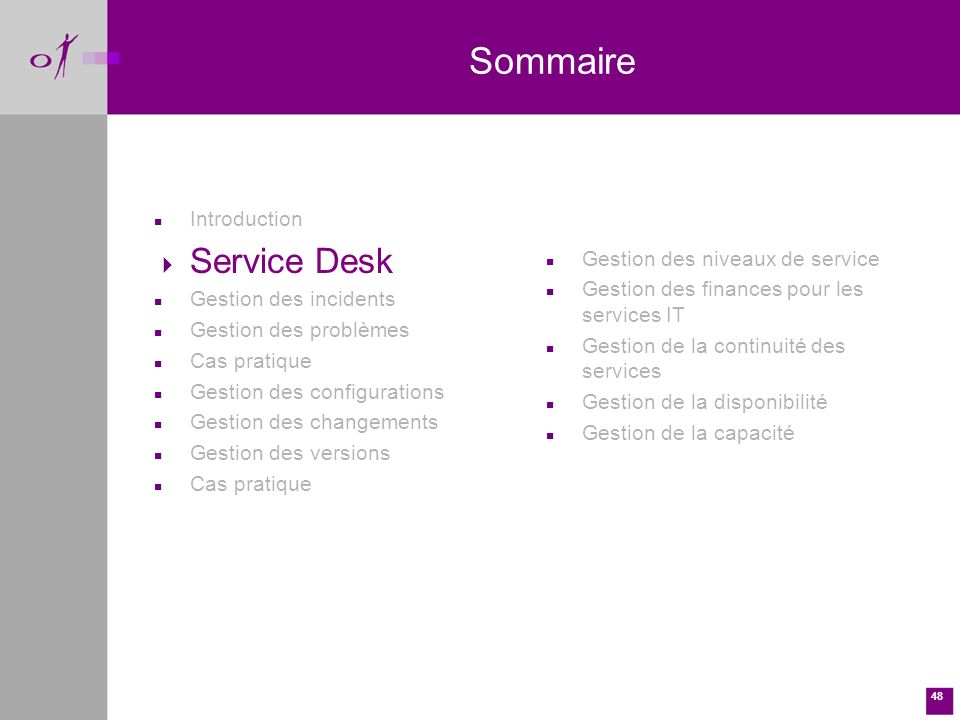 Sommaire Service Desk Introduction Gestion des incidents