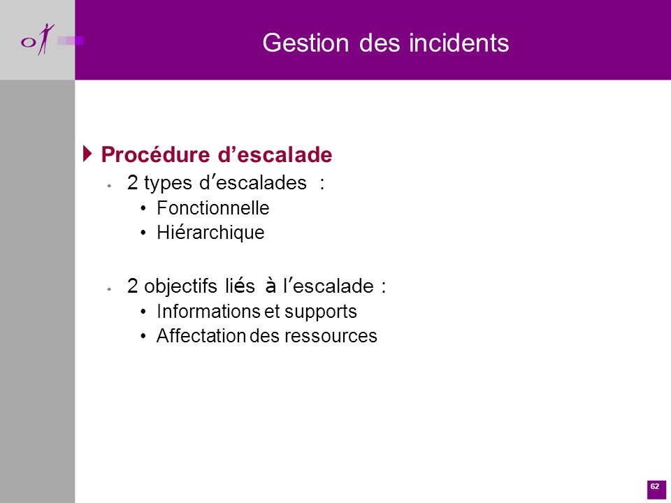 Gestion des incidents Procédure d'escalade 2 types d'escalades :