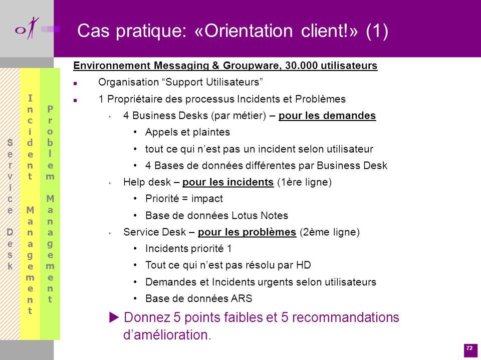 Cas pratique: «Orientation client!» (1)