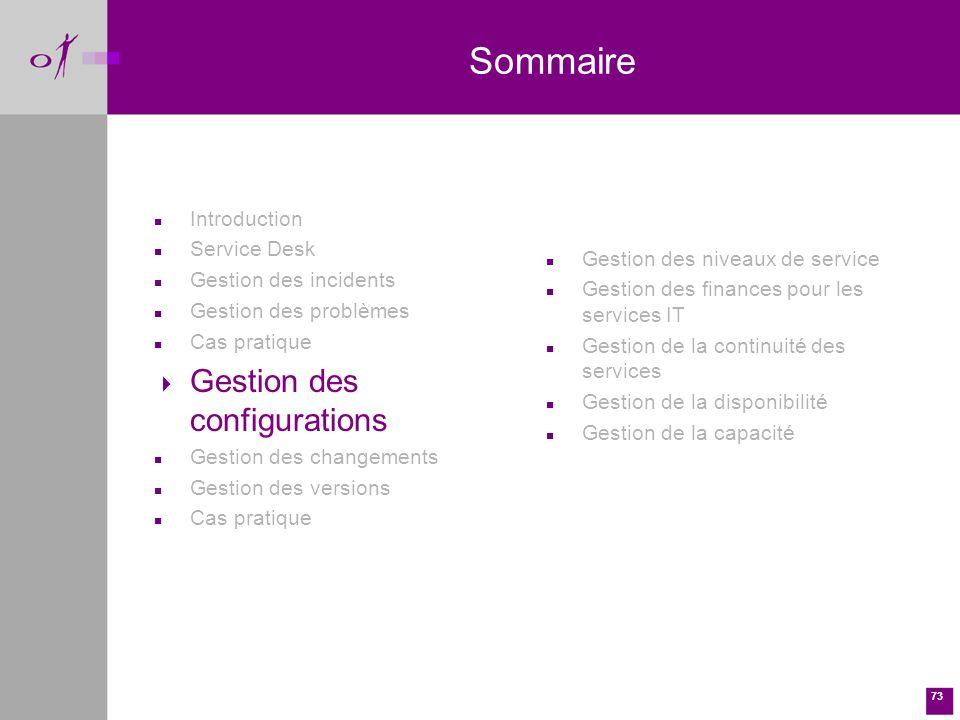 Sommaire Gestion des configurations Introduction Service Desk