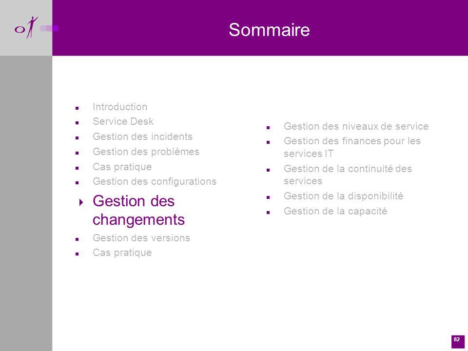 Sommaire Gestion des changements Introduction Service Desk