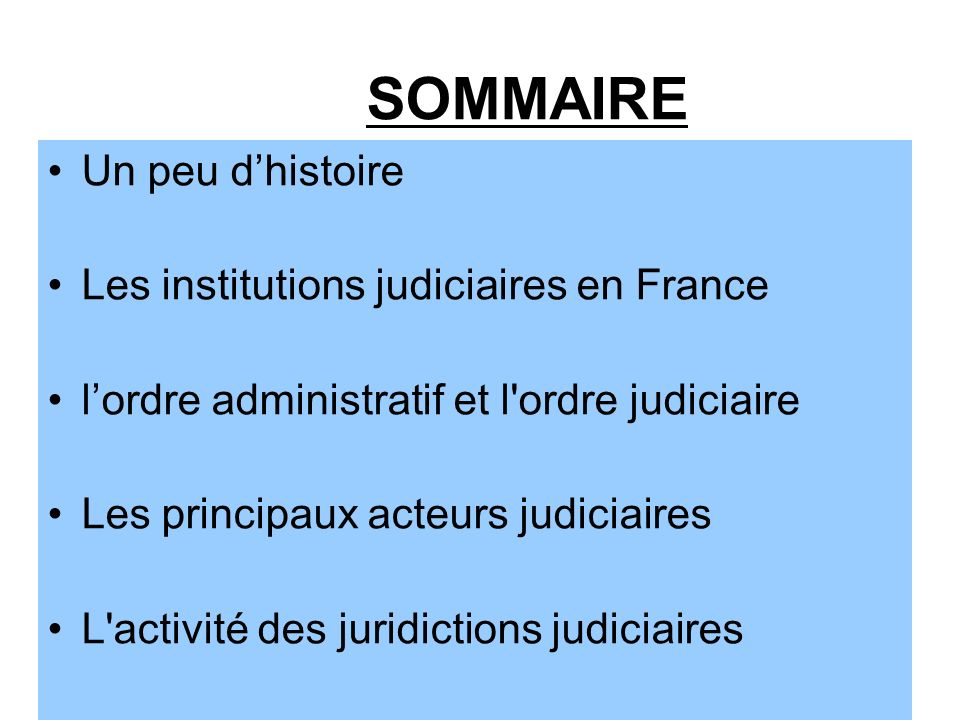 SOMMAIRE Un peu d'histoire Les institutions judiciaires en France