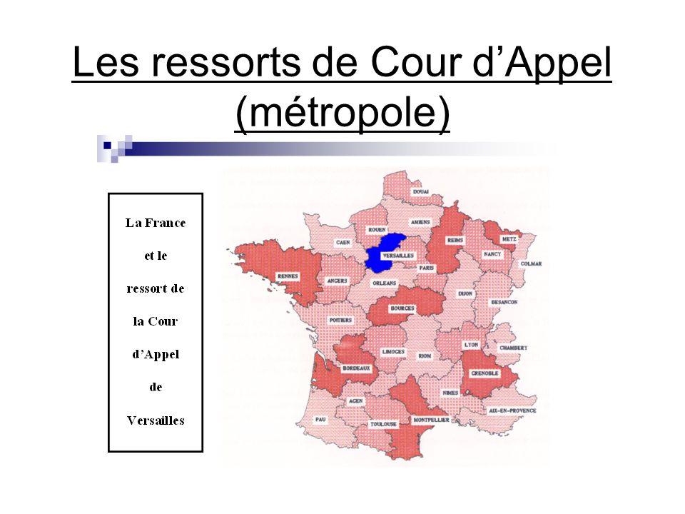 Les ressorts de Cour d'Appel (métropole)