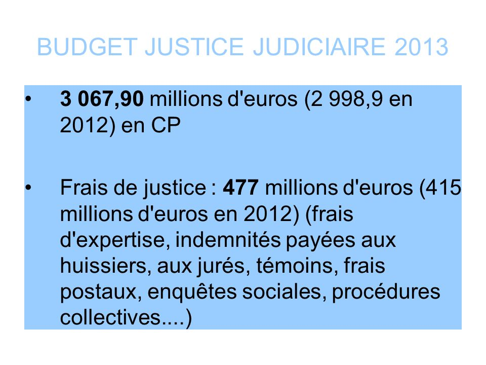 BUDGET JUSTICE JUDICIAIRE 2013
