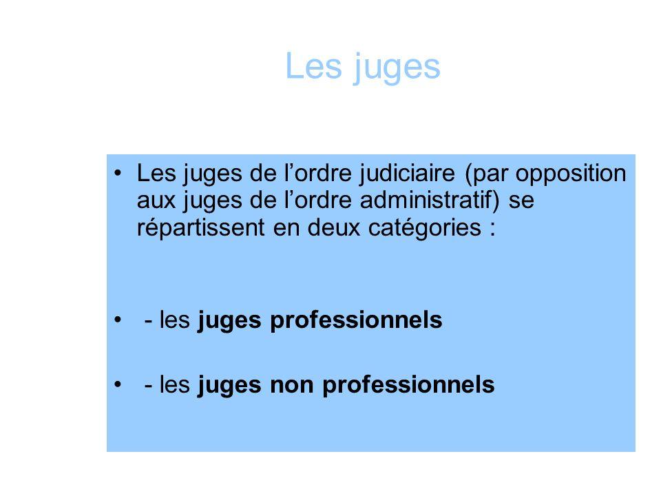 Les juges Les juges de l'ordre judiciaire (par opposition aux juges de l'ordre administratif) se répartissent en deux catégories :