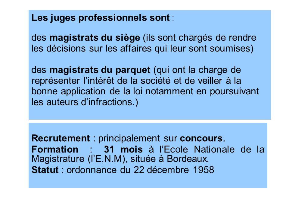 Les juges professionnels sont : des magistrats du siège (ils sont chargés de rendre les décisions sur les affaires qui leur sont soumises) des magistrats du parquet (qui ont la charge de représenter l'intérêt de la société et de veiller à la bonne application de la loi notamment en poursuivant les auteurs d'infractions.)