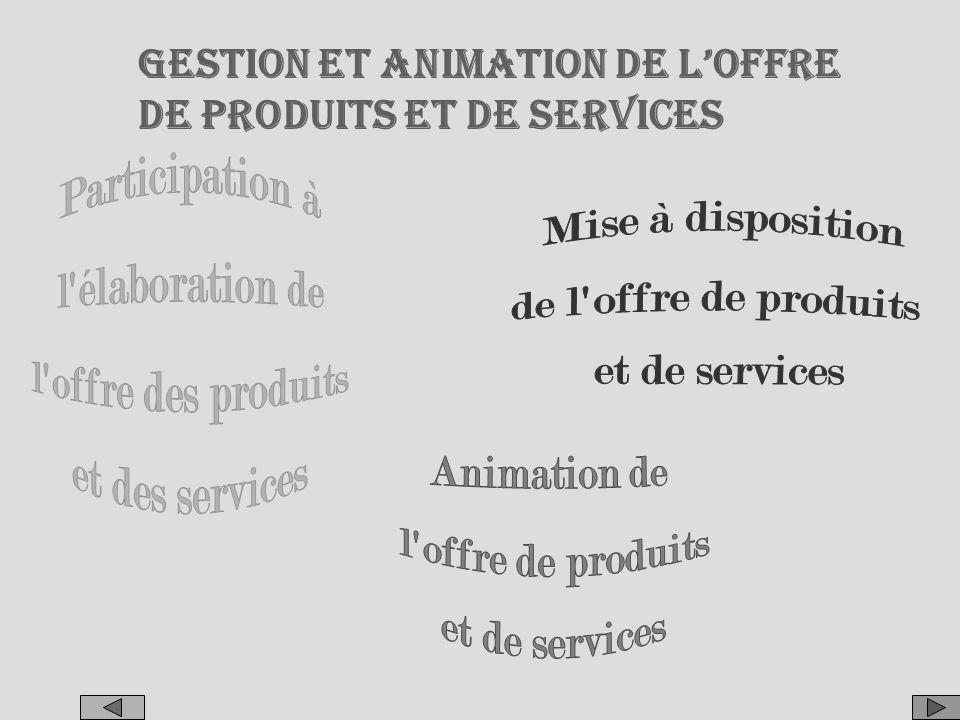 Participation à l élaboration de l offre des produits et des services