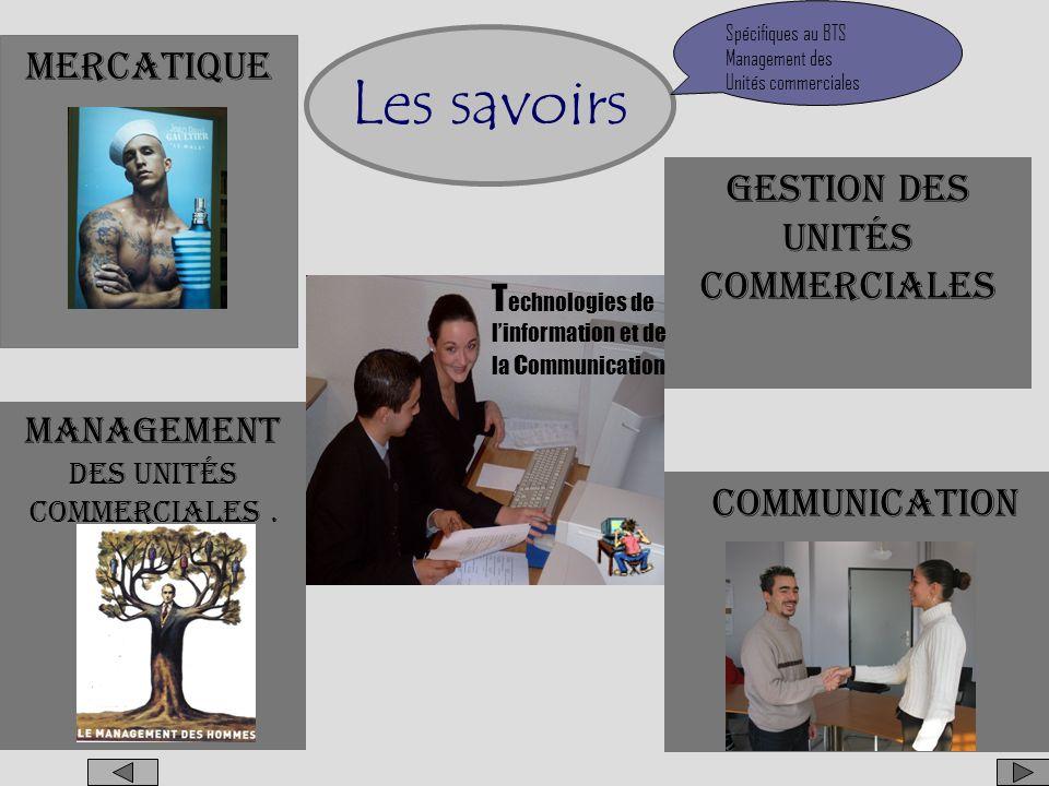 Les savoirs Mercatique Gestion Des unités commerciales Communication