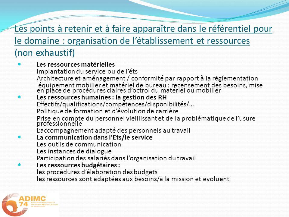 Les points à retenir et à faire apparaître dans le référentiel pour le domaine : organisation de l'établissement et ressources (non exhaustif)