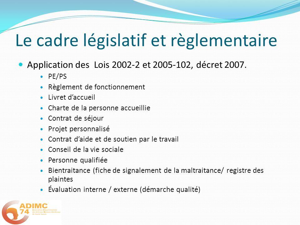 Le cadre législatif et règlementaire