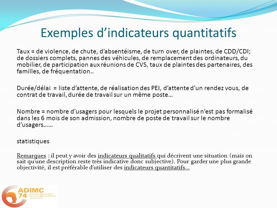 Exemples d'indicateurs quantitatifs