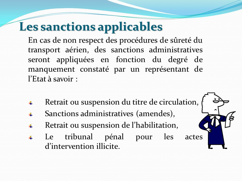 Les sanctions applicables