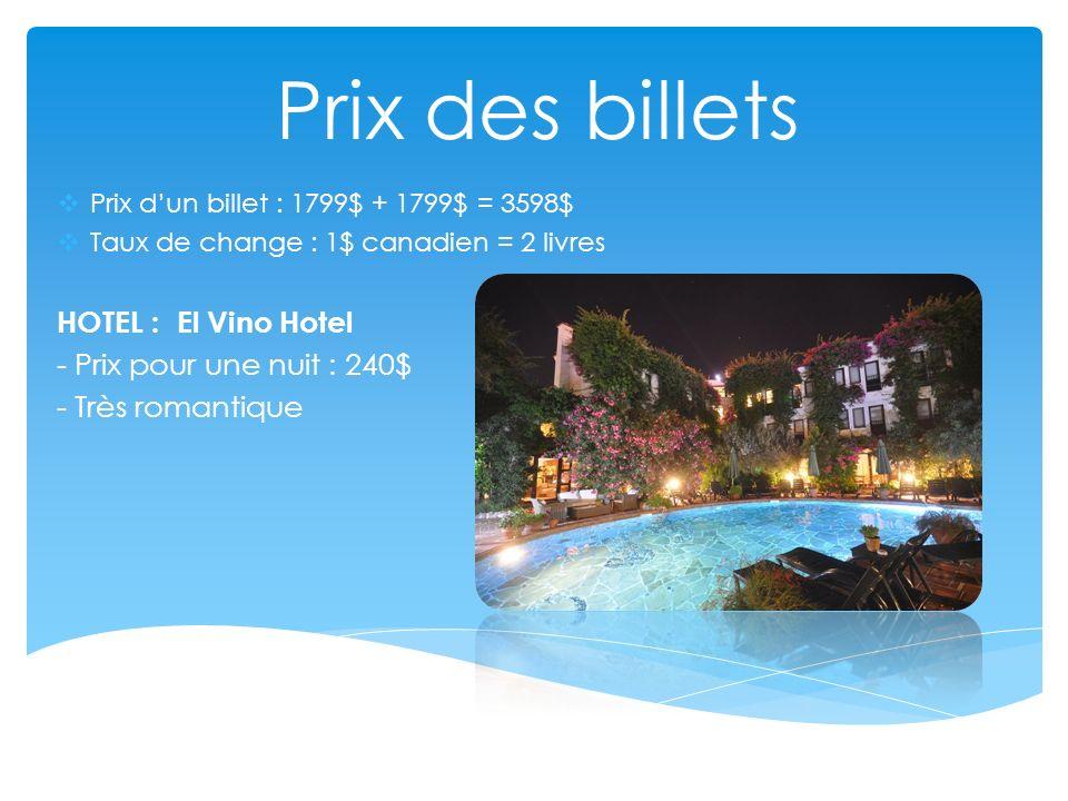 Prix des billets HOTEL : El Vino Hotel - Prix pour une nuit : 240$