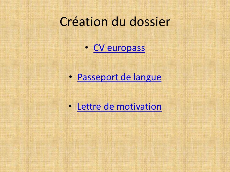 Création du dossier CV europass Passeport de langue