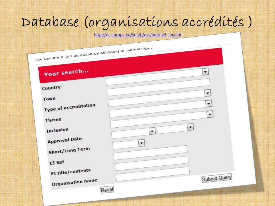 Database (organisations accrédités ) http://ec. europa
