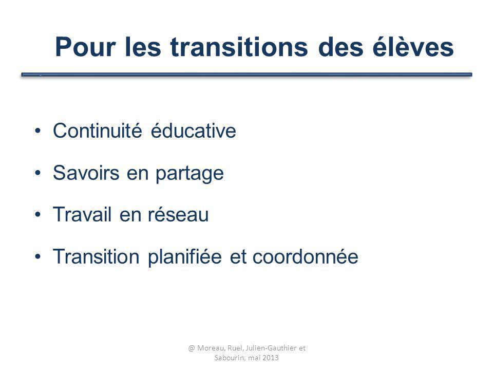 Pour les transitions des élèves