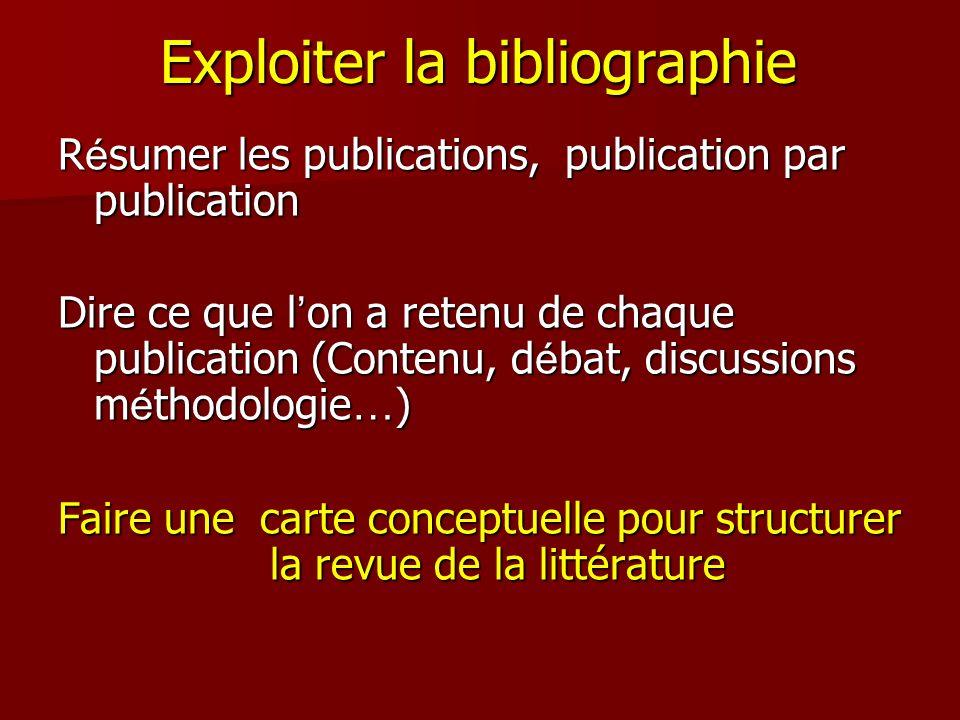 Exploiter la bibliographie