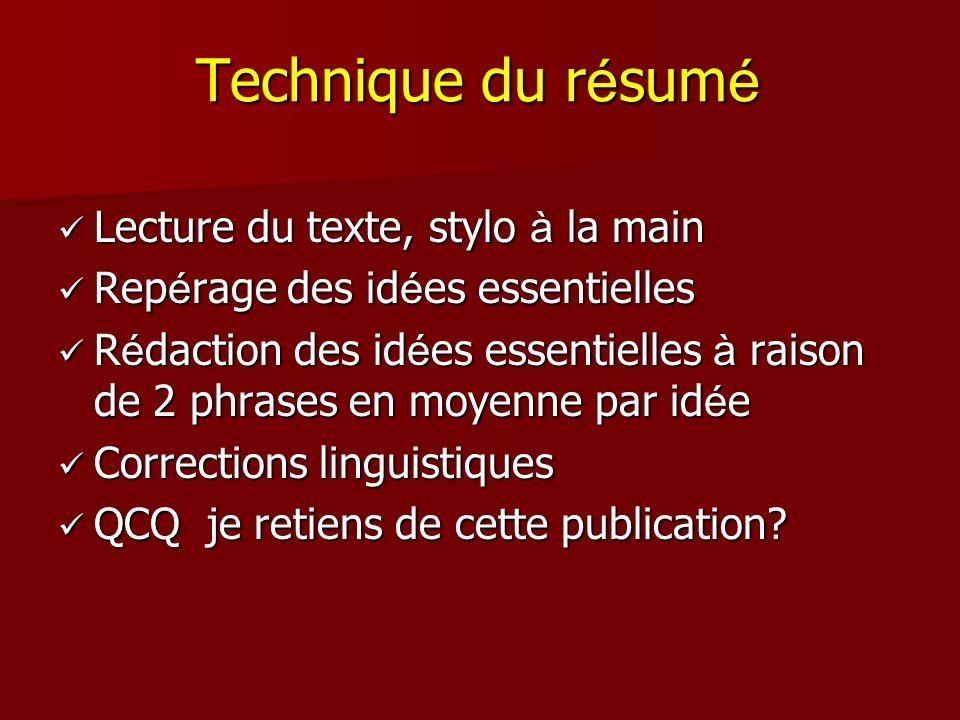 Technique du résumé Lecture du texte, stylo à la main