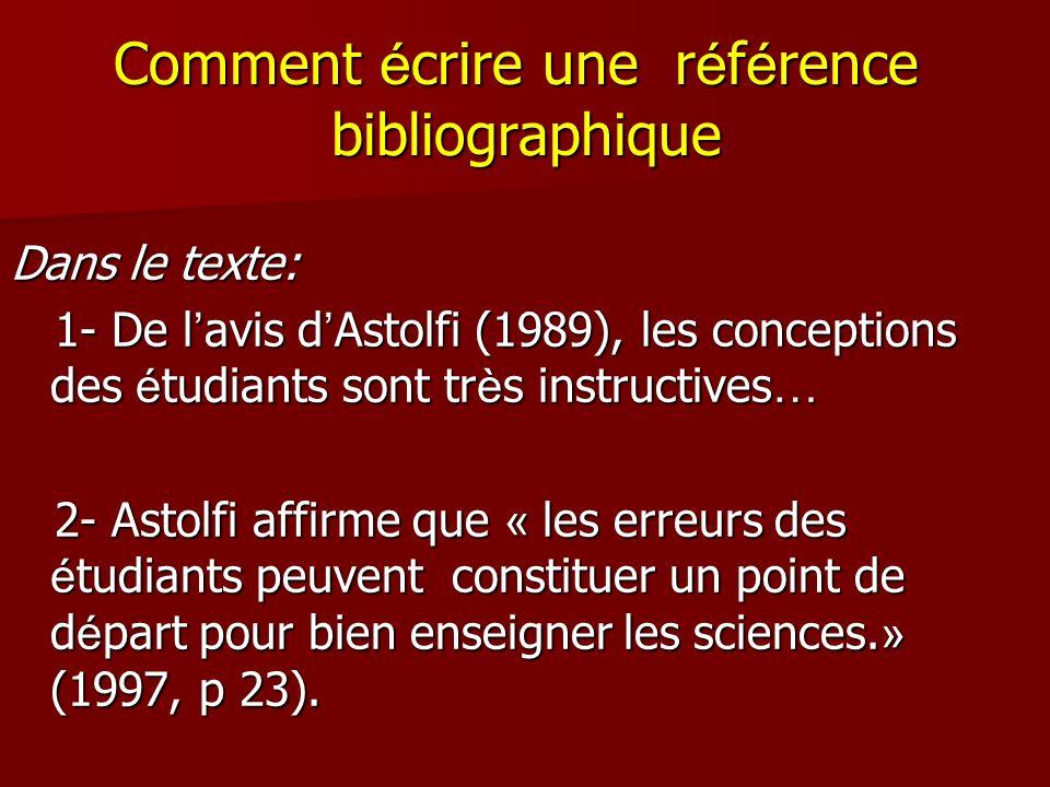Comment écrire une référence bibliographique