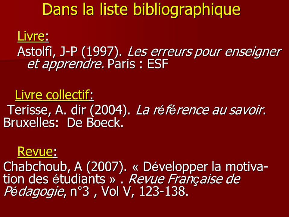Dans la liste bibliographique