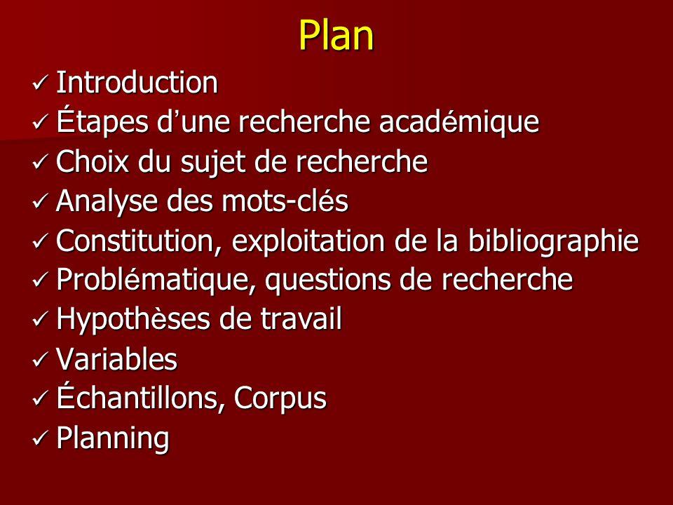 Plan Introduction Étapes d'une recherche académique