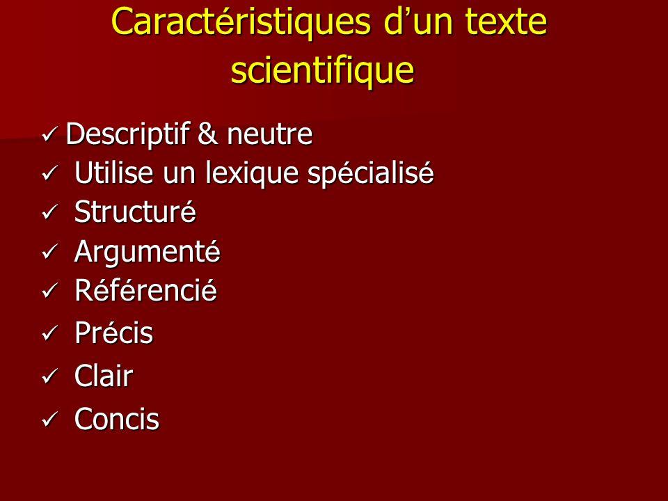 Caractéristiques d'un texte scientifique