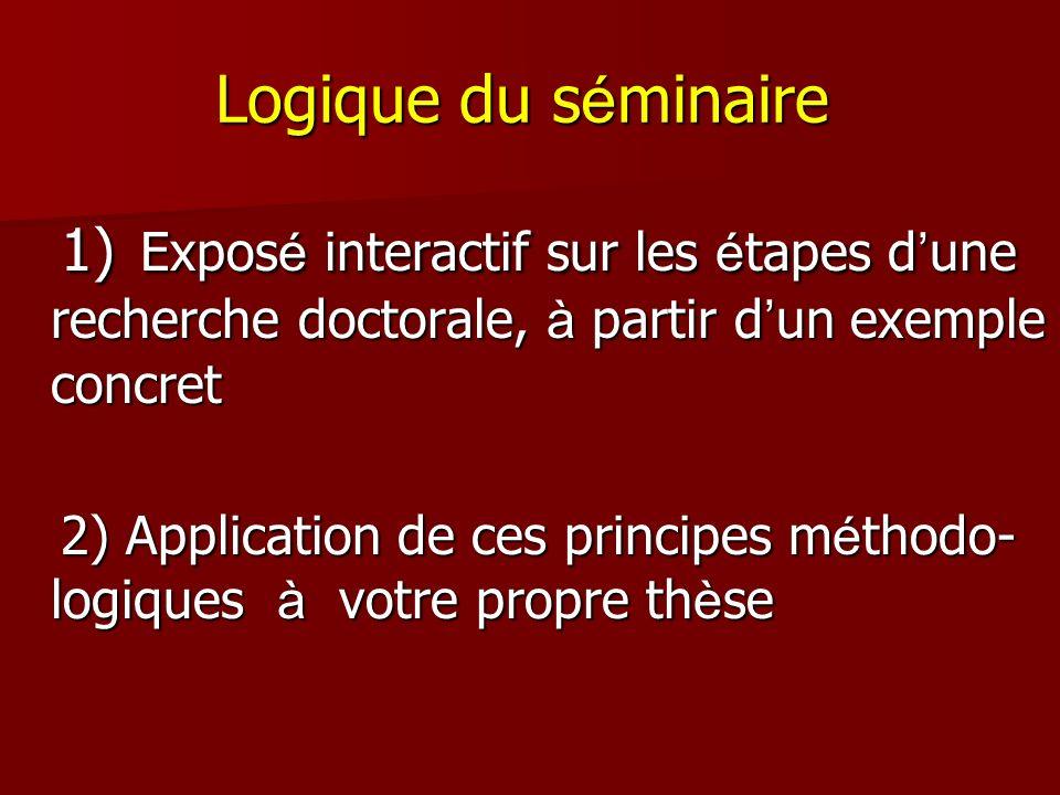 Logique du séminaire 1) Exposé interactif sur les étapes d'une recherche doctorale, à partir d'un exemple concret.