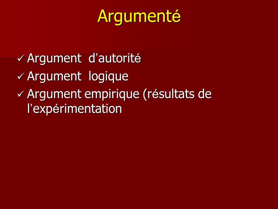 Argumenté Argument d'autorité Argument logique
