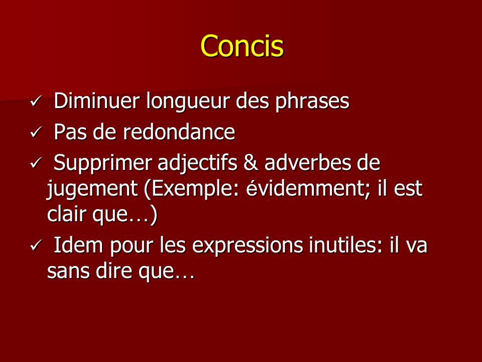 Concis Diminuer longueur des phrases Pas de redondance