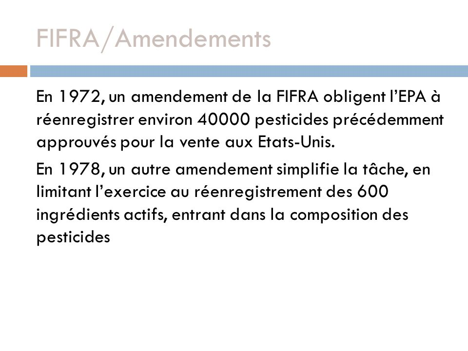 FIFRA/Amendements