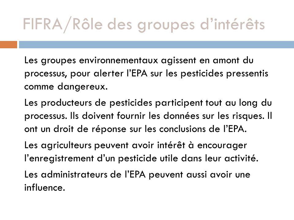 FIFRA/Rôle des groupes d'intérêts