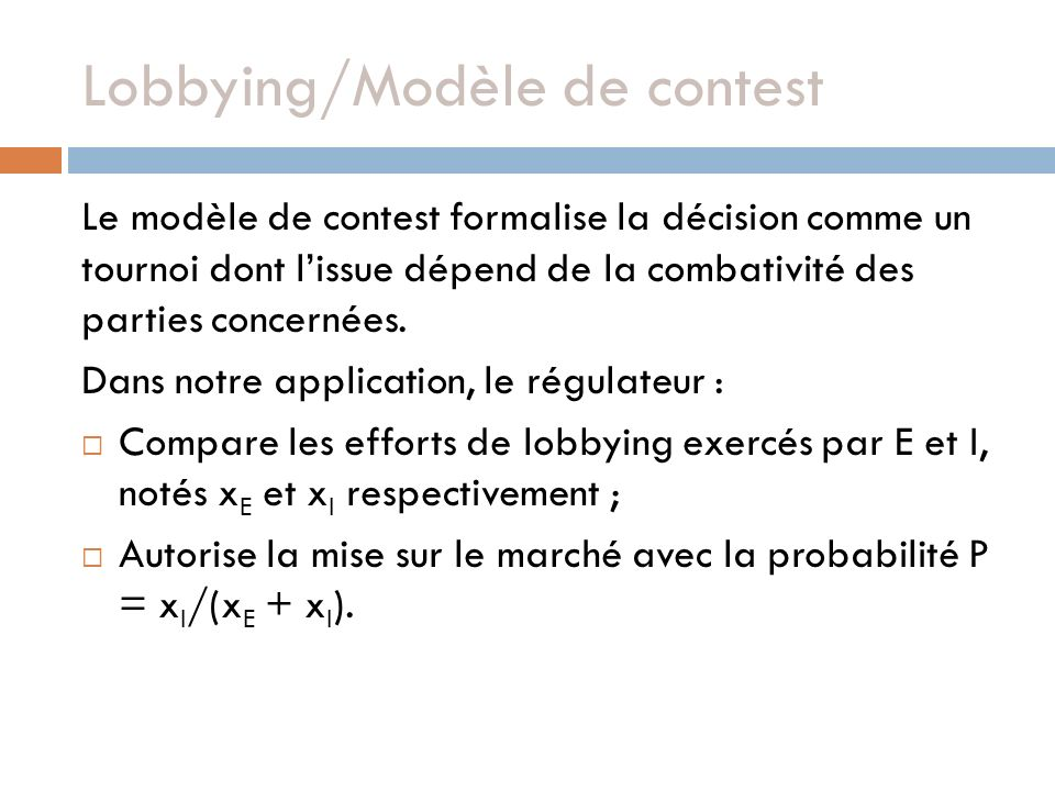 Lobbying/Modèle de contest