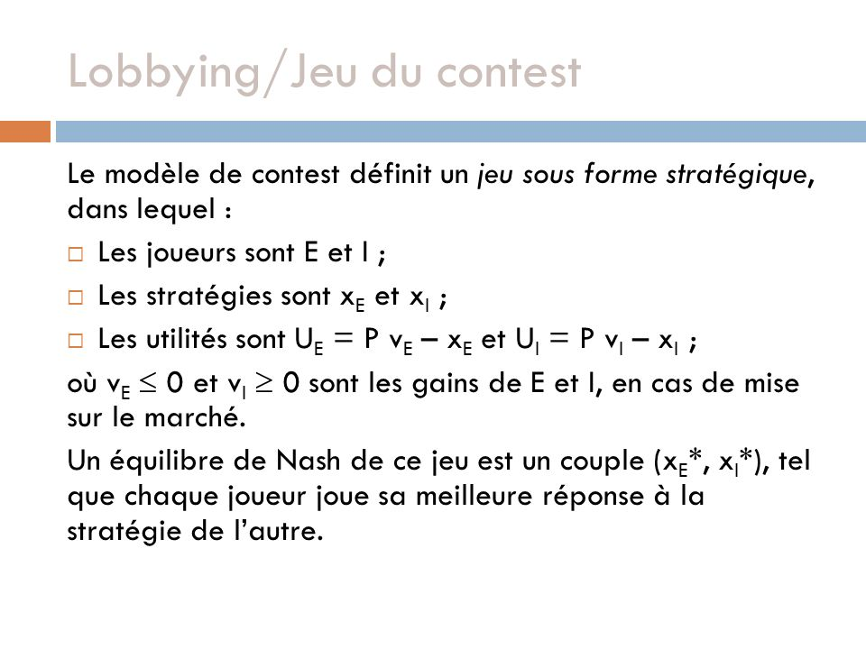 Lobbying/Jeu du contest