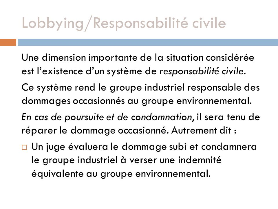 Lobbying/Responsabilité civile