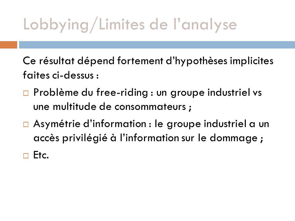 Lobbying/Limites de l'analyse