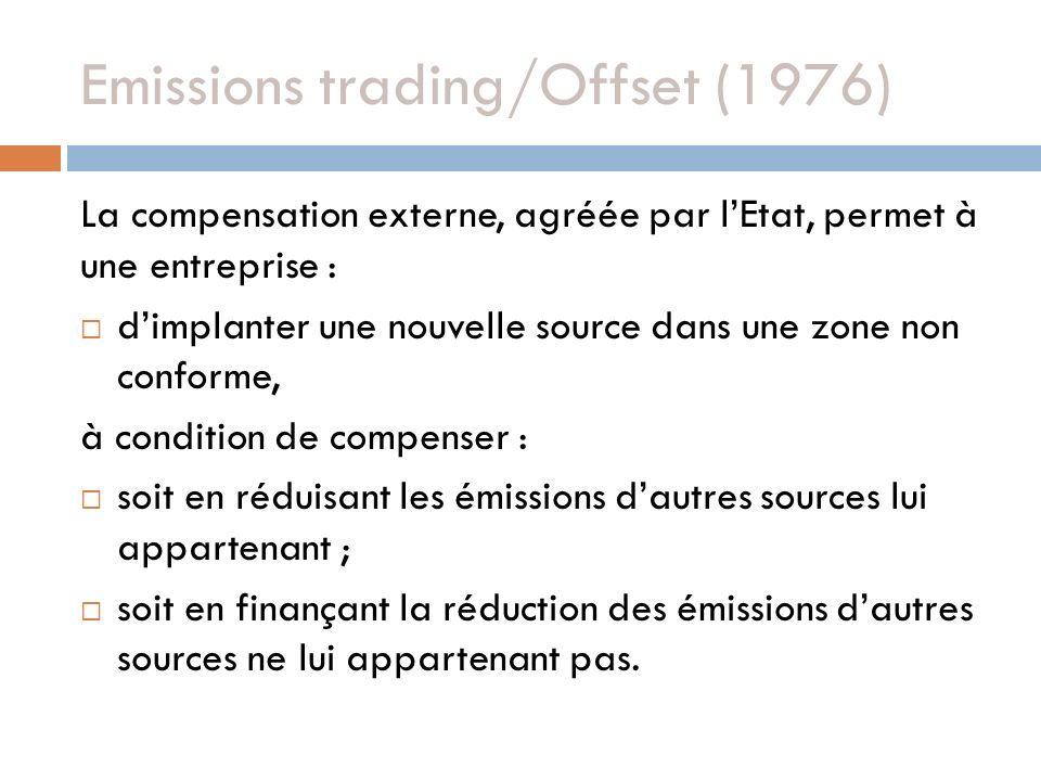 Emissions trading/Offset (1976)