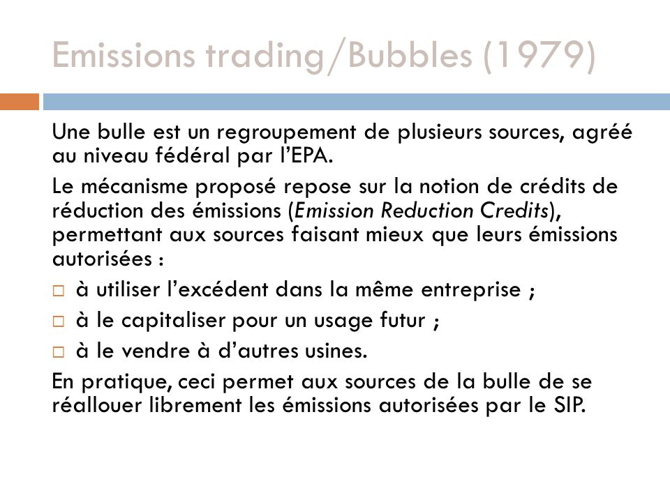 Emissions trading/Bubbles (1979)
