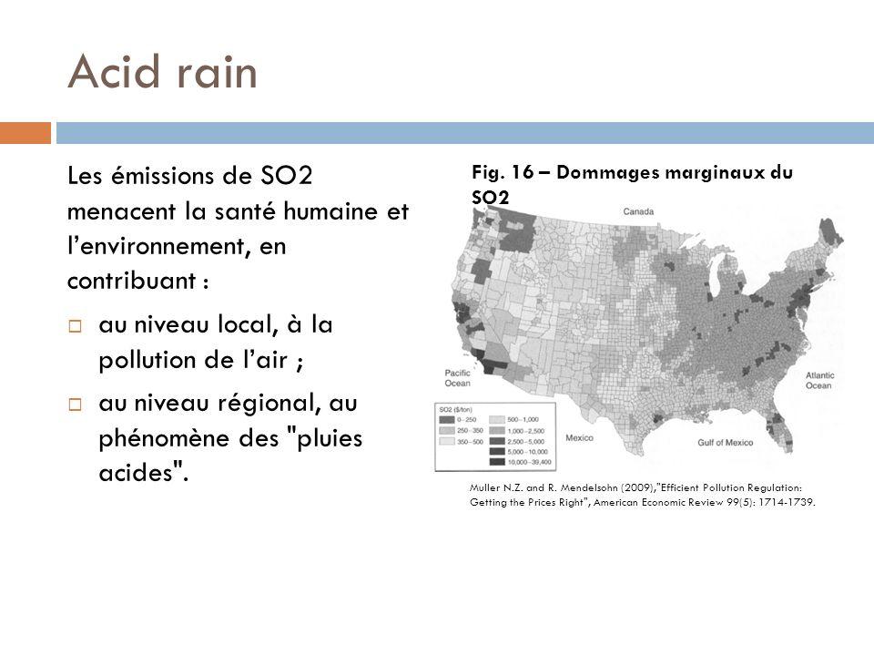 Acid rain Les émissions de SO2 menacent la santé humaine et l'environnement, en contribuant : au niveau local, à la pollution de l'air ;