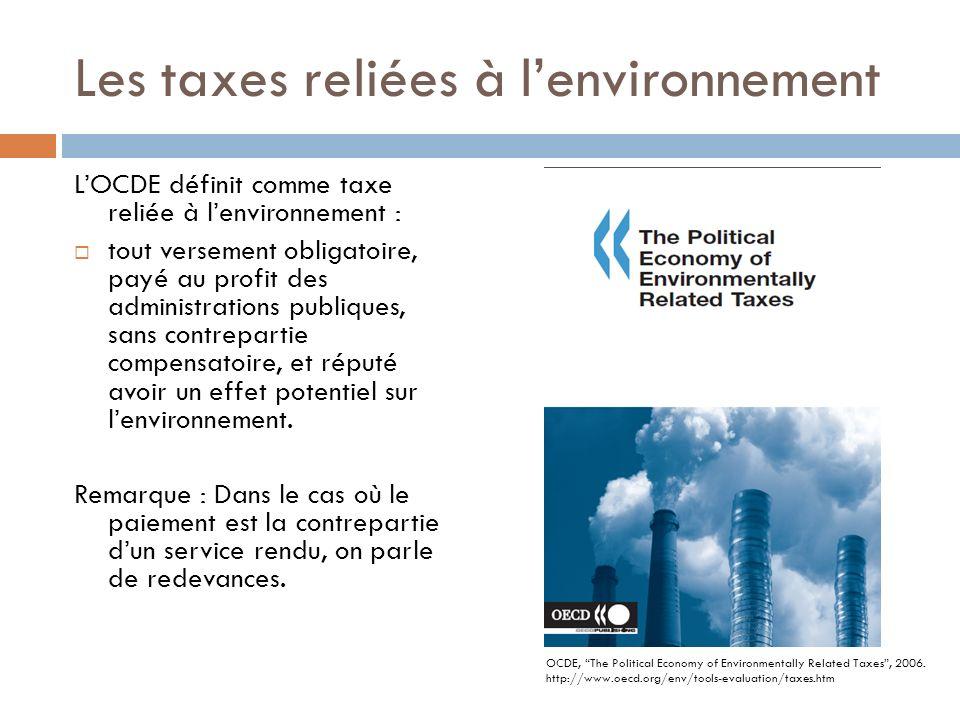 Les taxes reliées à l'environnement
