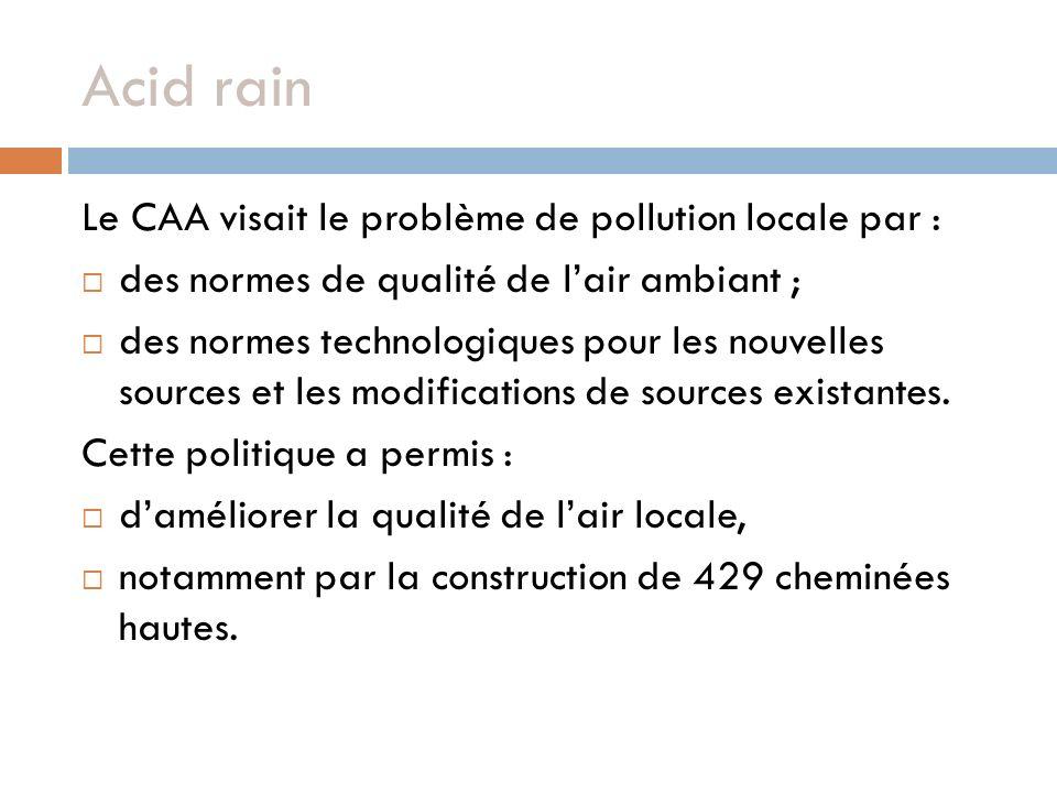 Acid rain Le CAA visait le problème de pollution locale par :