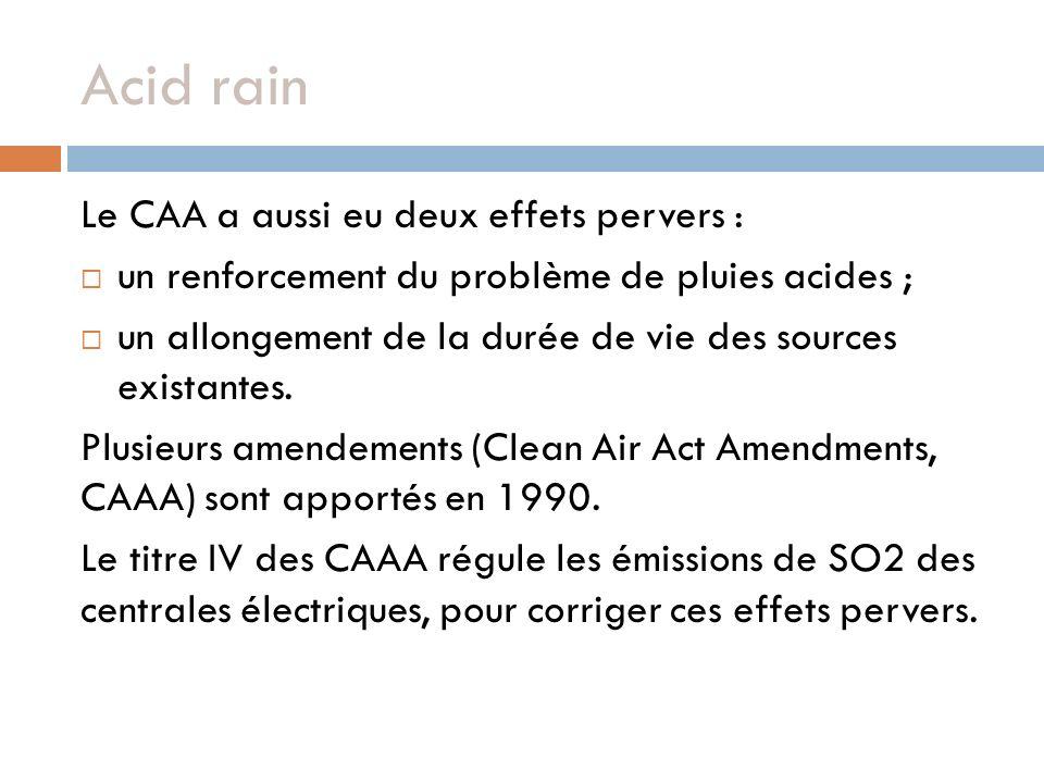 Acid rain Le CAA a aussi eu deux effets pervers :