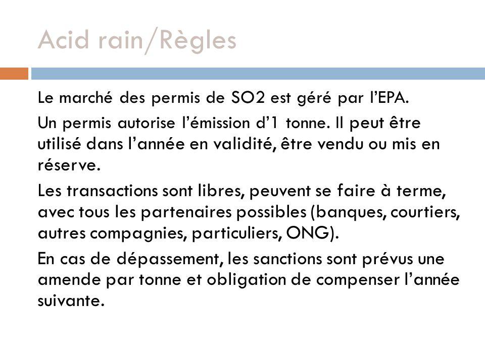 Acid rain/Règles Le marché des permis de SO2 est géré par l'EPA.