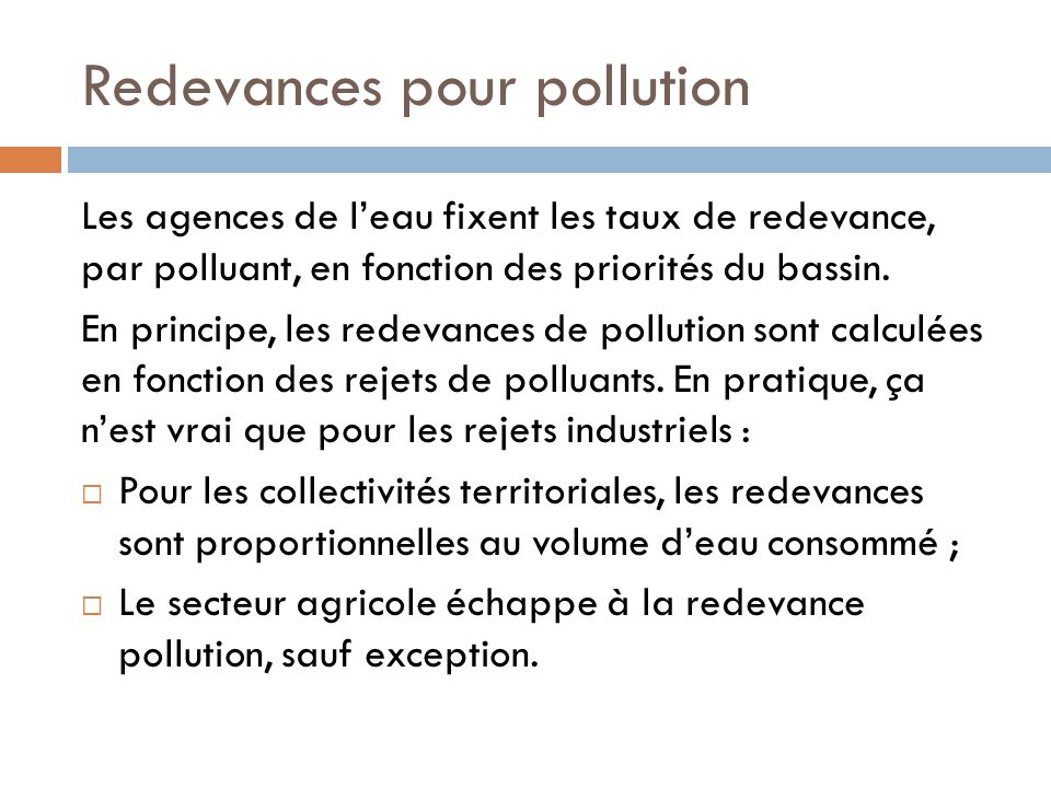 Redevances pour pollution